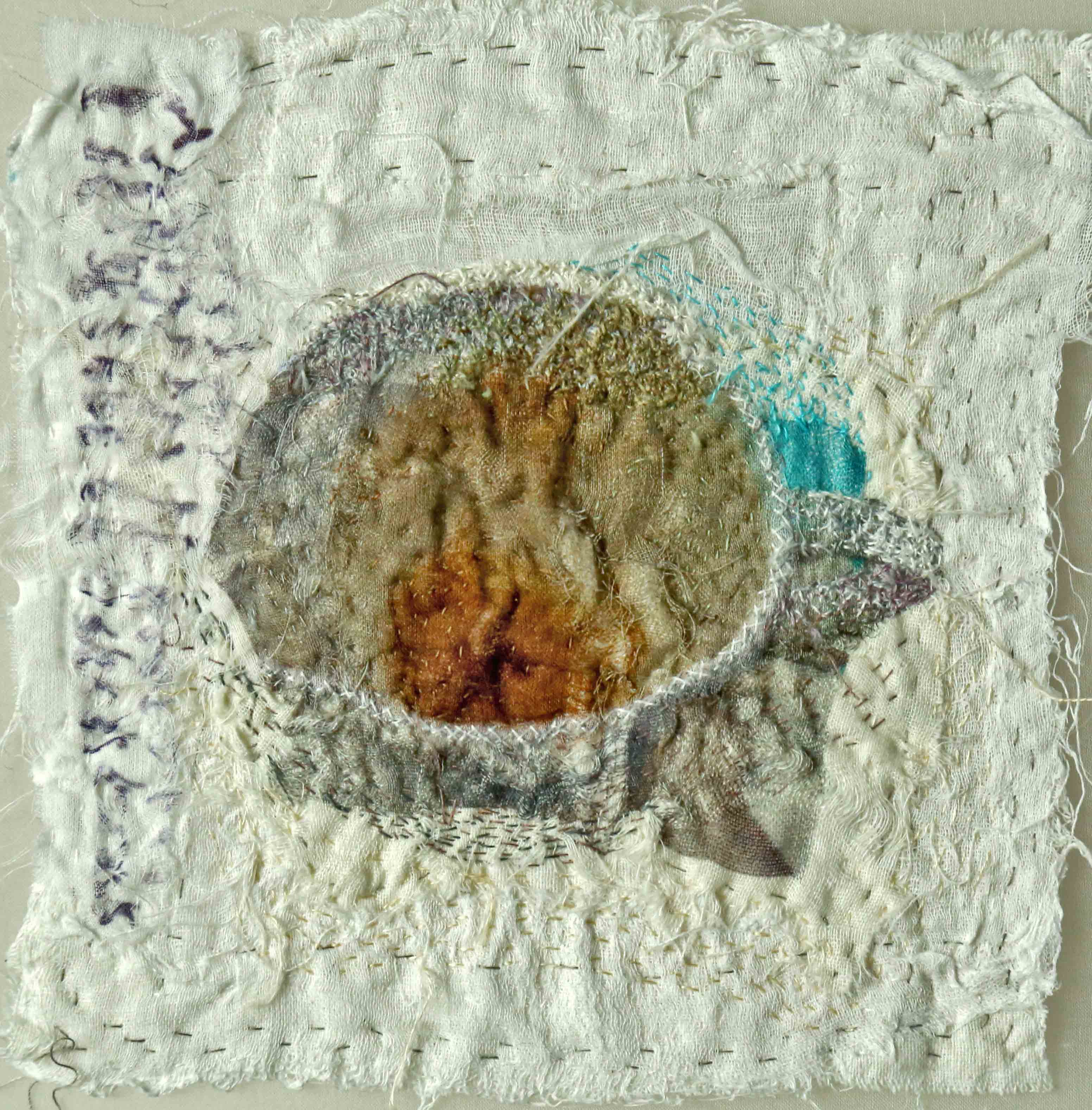 Dregs in Your Tea-cup II, 2010 [7 X 6 Inches - unframed] Materials: cotton voile, cotton floss, cotton-polyester thread, Technique: photography, digital printing, tearing, layering, stitching, embroidery