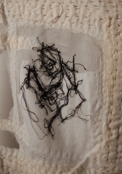 High Rises; Narrowing Windows of Perception...[2008] Cotton, cotton polyester, silk organza, silk chiffon Stitch/embroidery [29 x 32 inches]